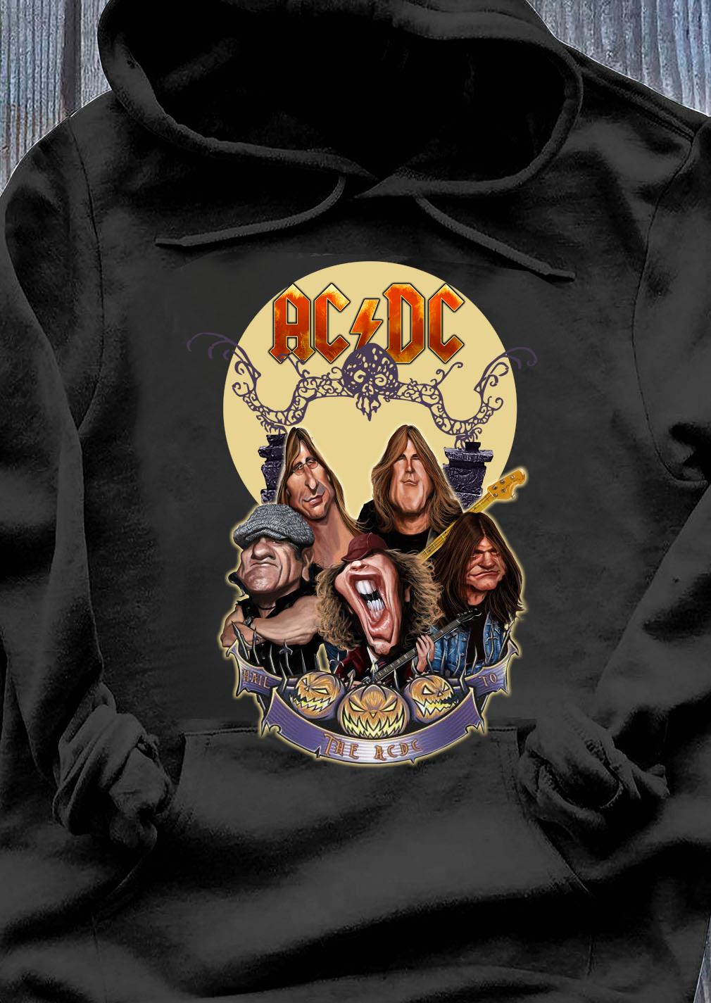 Official The Ac Dc Rock Band Comic Halloween Moon Shirt Hoodie