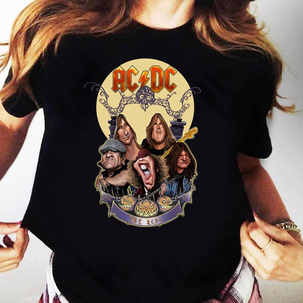 Official The Ac Dc Rock Band Comic Halloween Moon Shirt Ladies tee