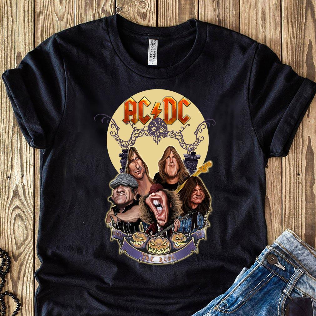 Official The Ac Dc Rock Band Comic Halloween Moon Shirt