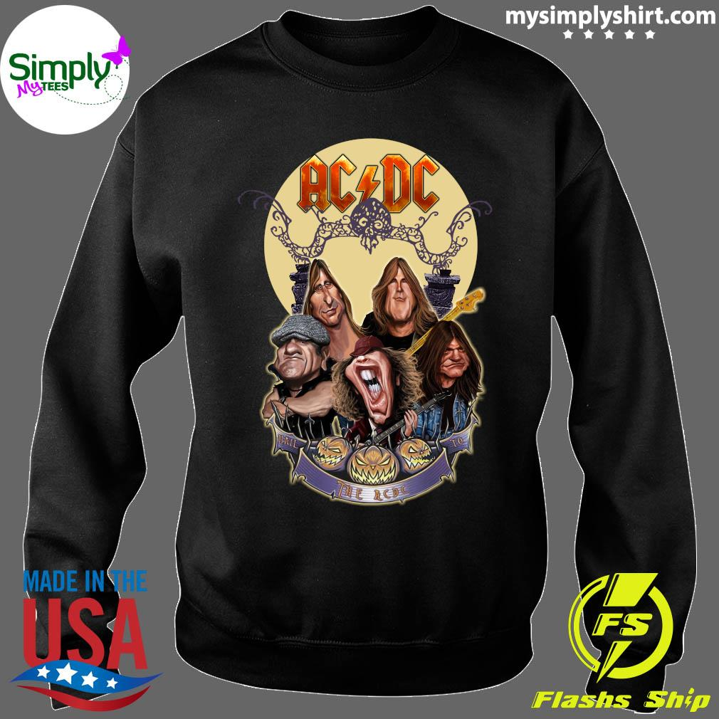 Official The Ac Dc Rock Band Comic Halloween Moon Shirt Sweater
