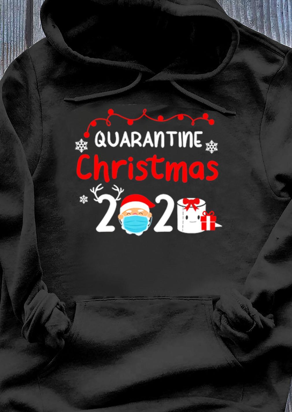 Quarantine Christmas 2020 Reindeer Santa Shirt Hoodie