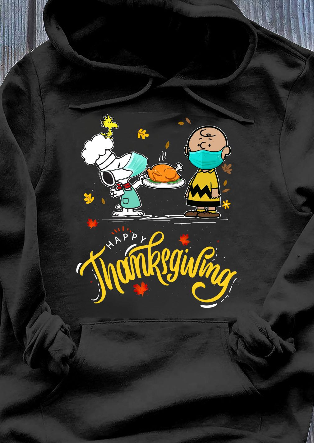 Snoopy And Charlie Brown Face Mask Happy Thanksgiving Shirt Hoodie