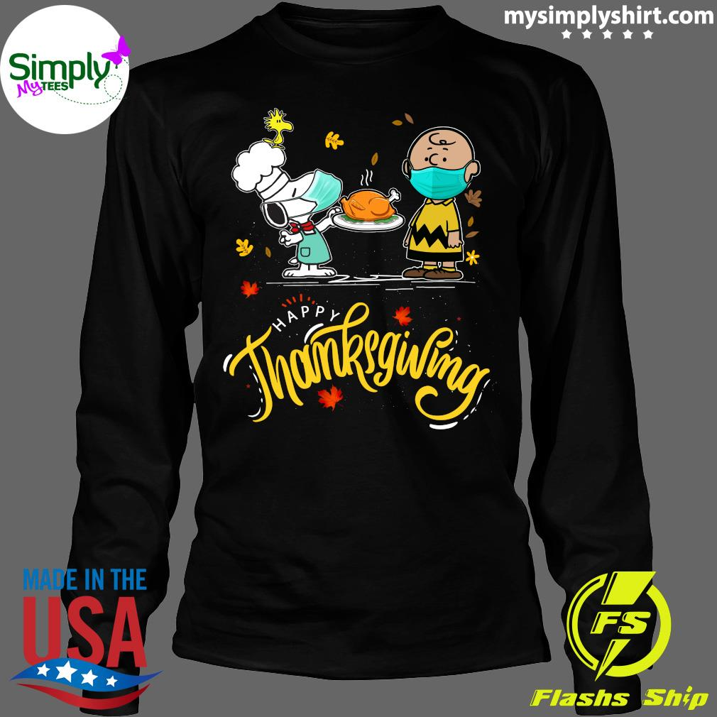 Snoopy And Charlie Brown Face Mask Happy Thanksgiving Shirt Longsleeve