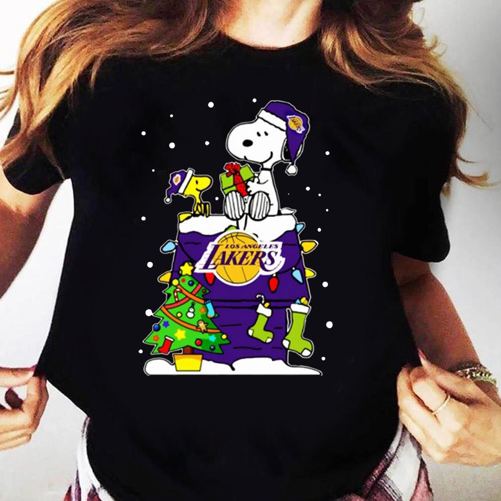 Snoopy Lakers Ugly Christmas Shirt Ladies tee