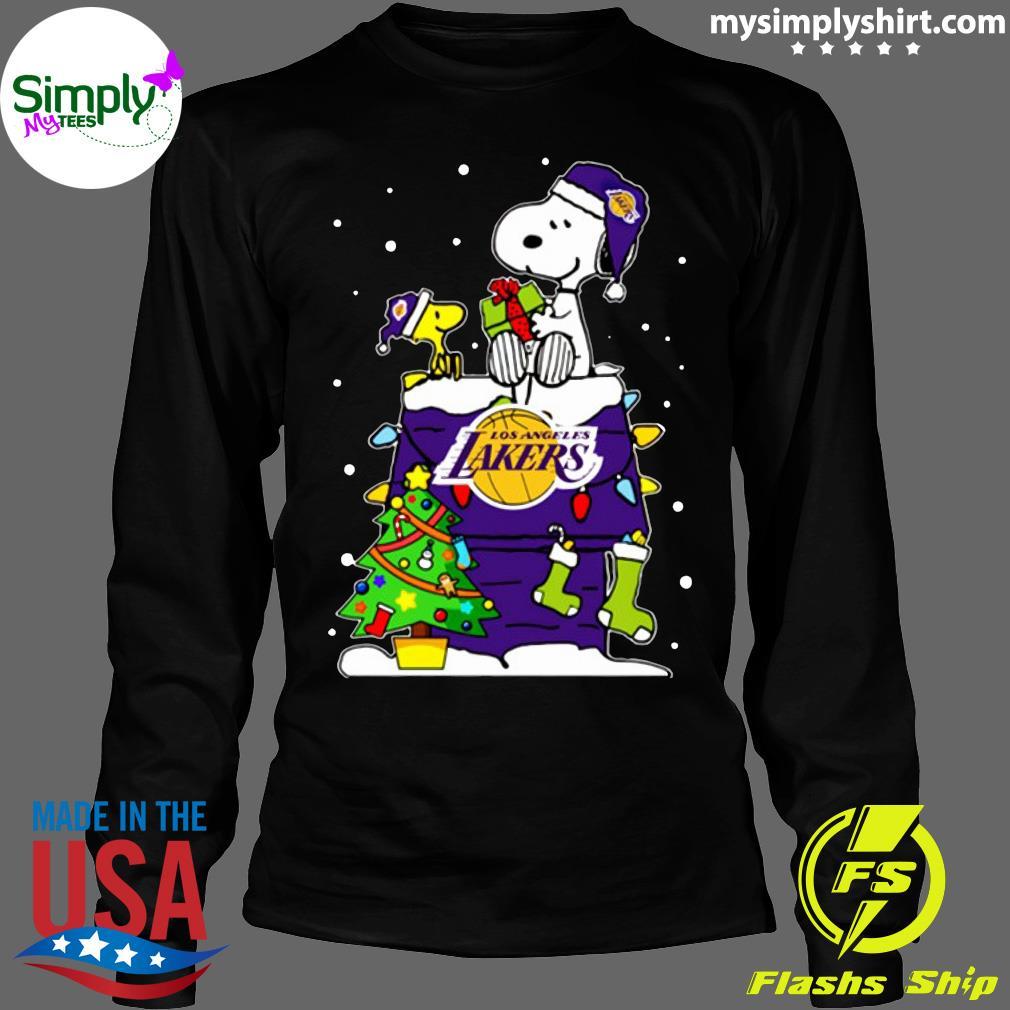 Snoopy Lakers Ugly Christmas Shirt Longsleeve