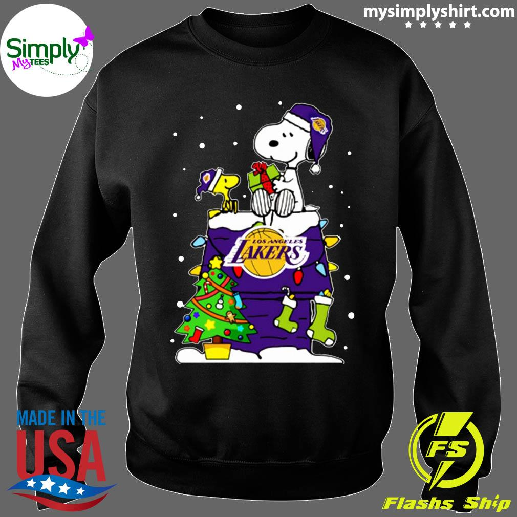 Snoopy Lakers Ugly Christmas Shirt Sweater