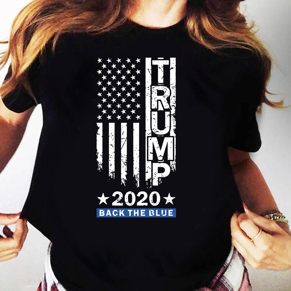 Trump Back The Blue Pro Trump Thin Blue Line US Flag Police Shirt Ladies tee