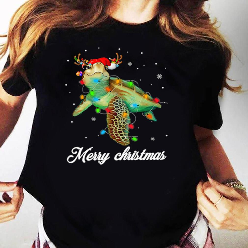 Turtle Light Merry Christmas Shirt Ladies tee