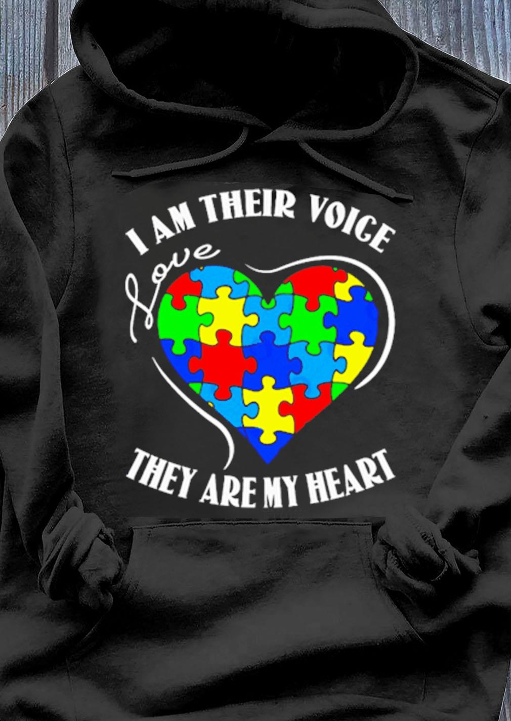 Autism Awareness I Am Their Voice Love They Are My Heart Shirt Hoodie