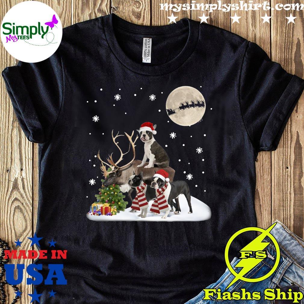 Boston Terrier Gorgeous With Reindeer Boston Lover Christmas Shirt