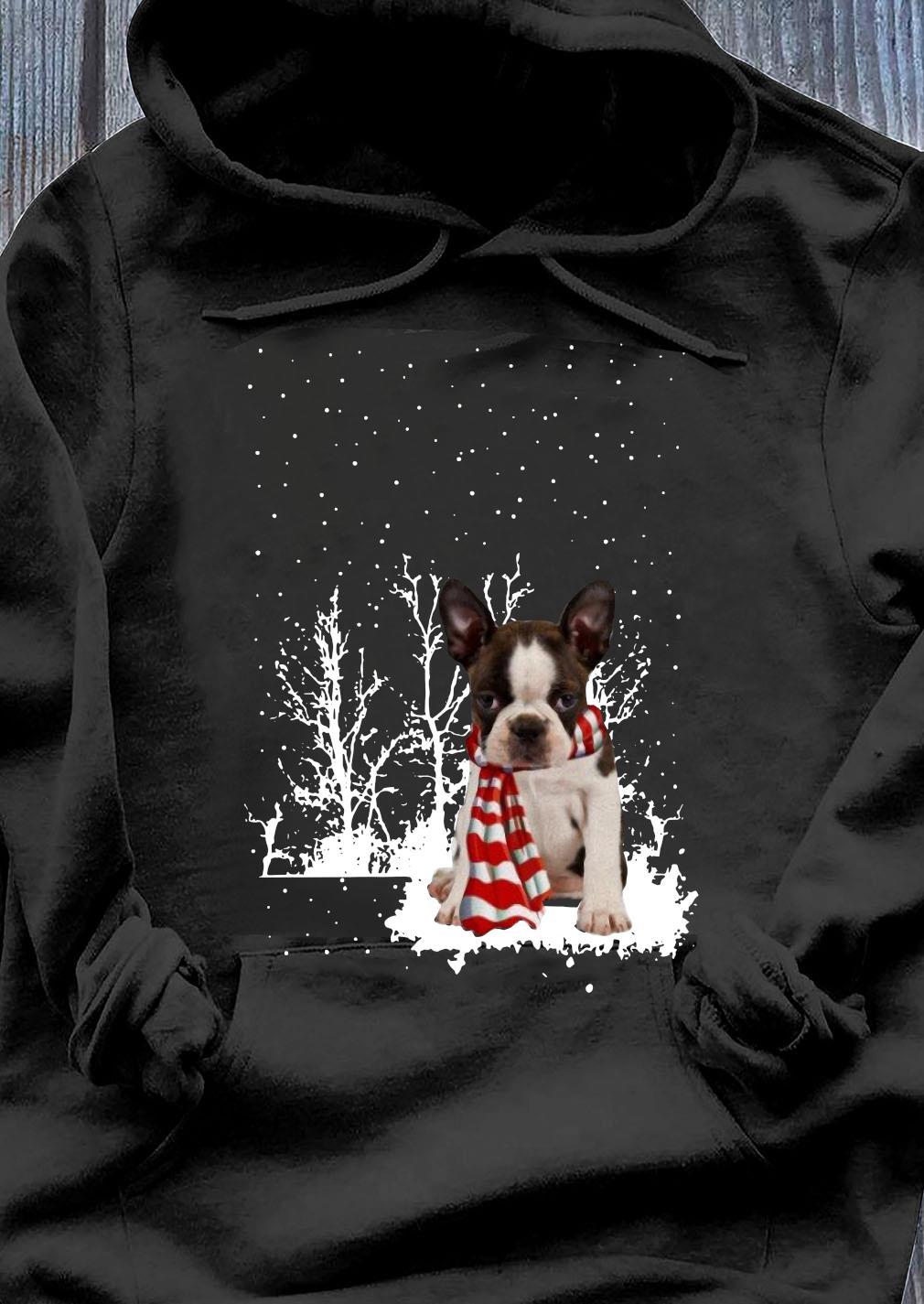 Boston Terrier Merry Christmas Shirt Hoodie