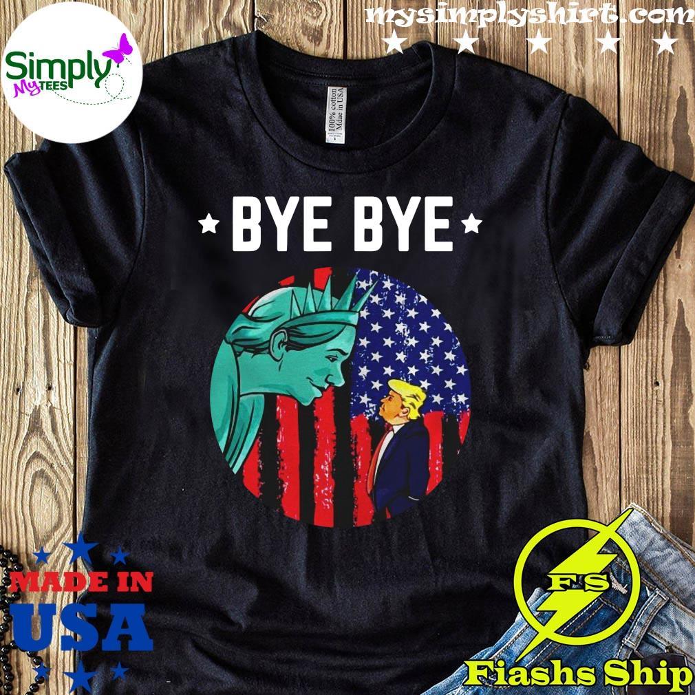 Byebye Trump 2020 Trump Democratic Funny Vintage American Flag Shirt