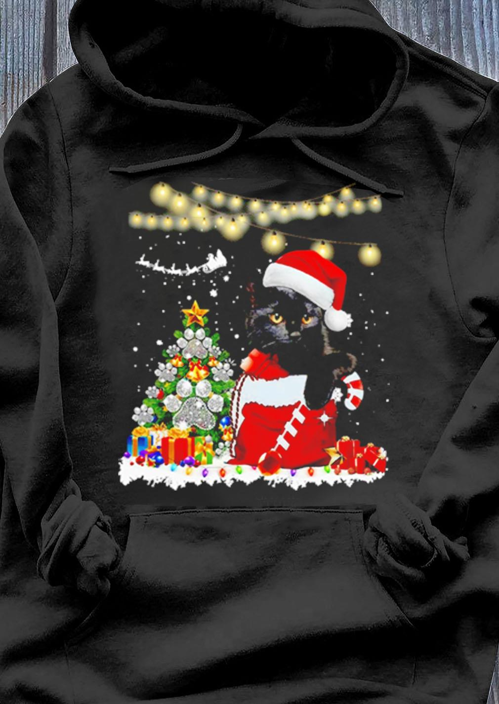 Cat And Merry Christmas Paws Tree Gift Sweater Hoodie