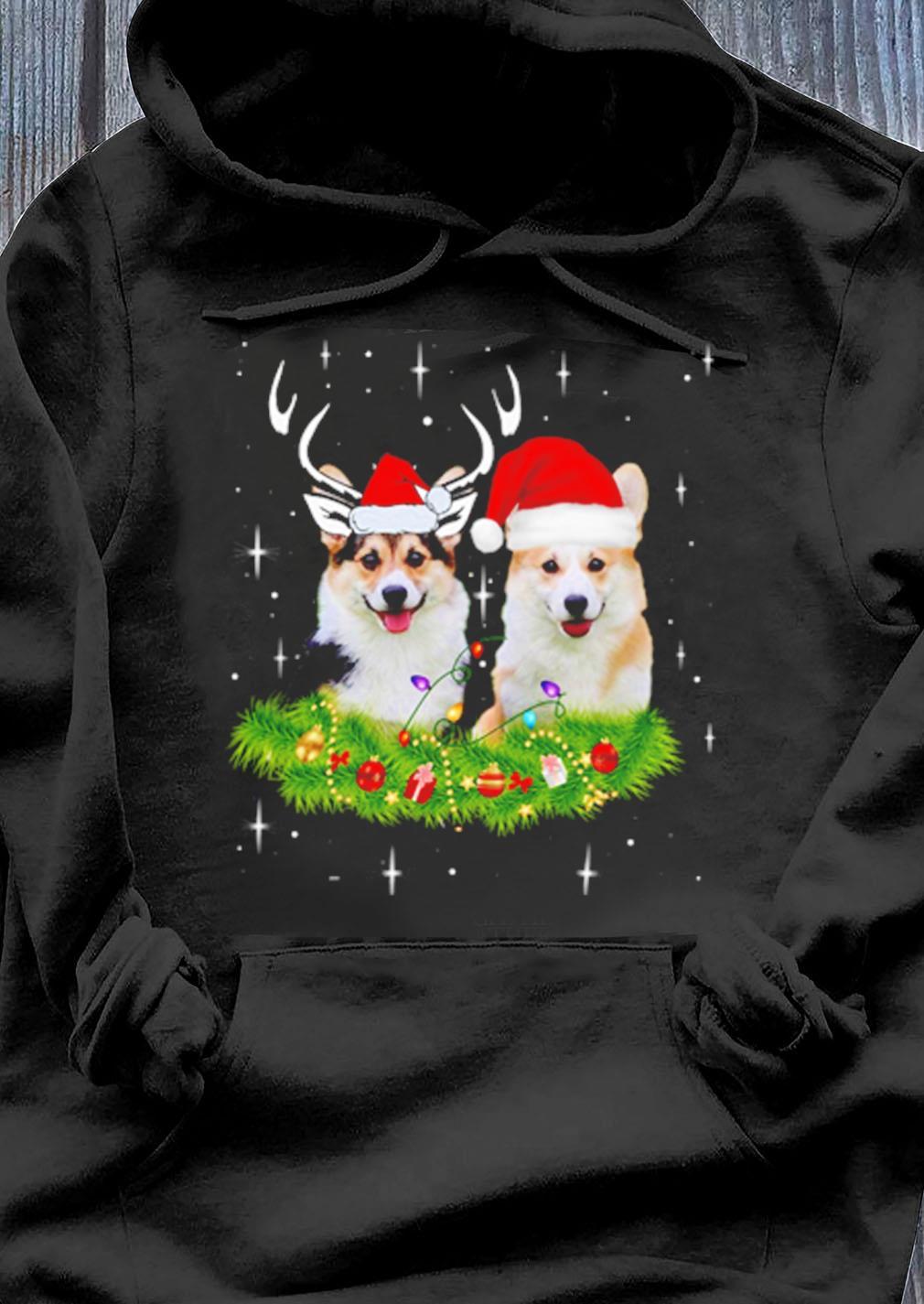Corgi Dogs Reindeer Santa Hat Christmas Lights Sweater Hoodie