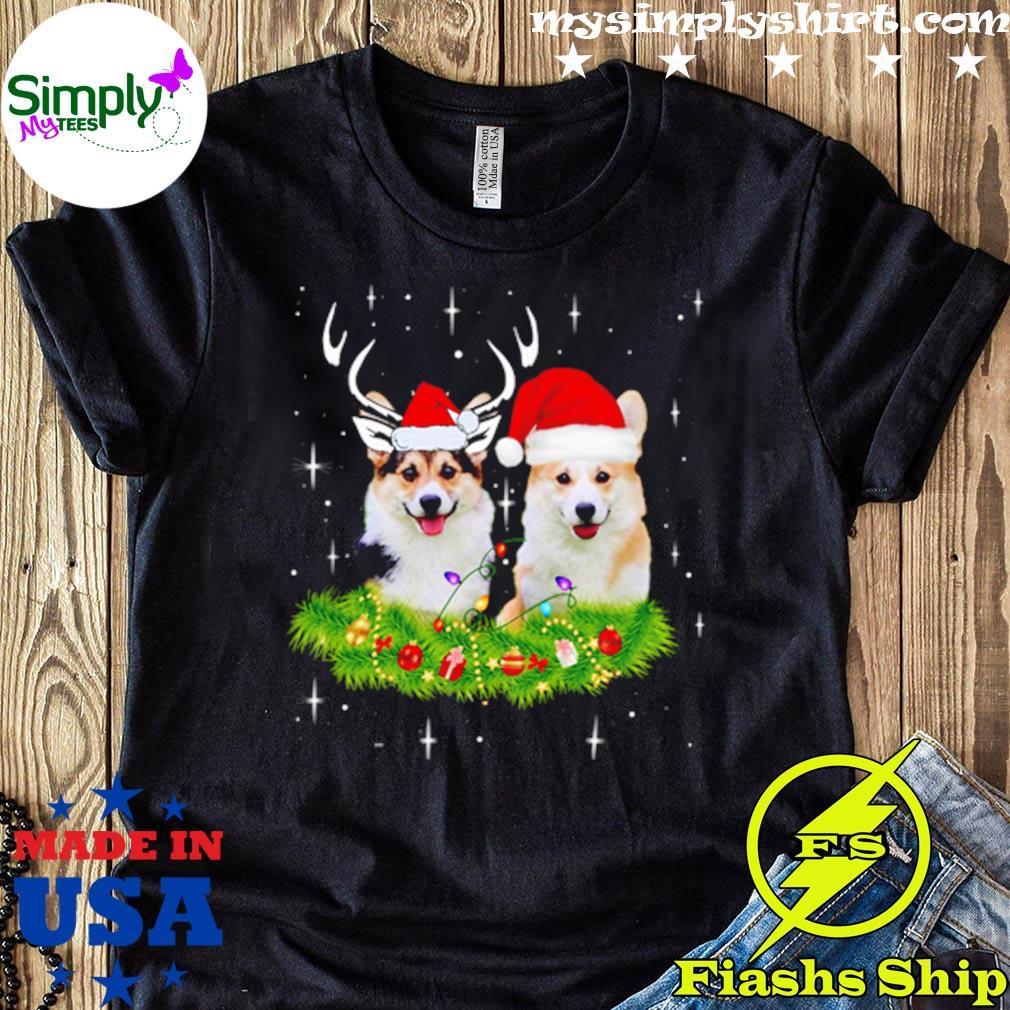 Corgi Dogs Reindeer Santa Hat Christmas Lights Sweater