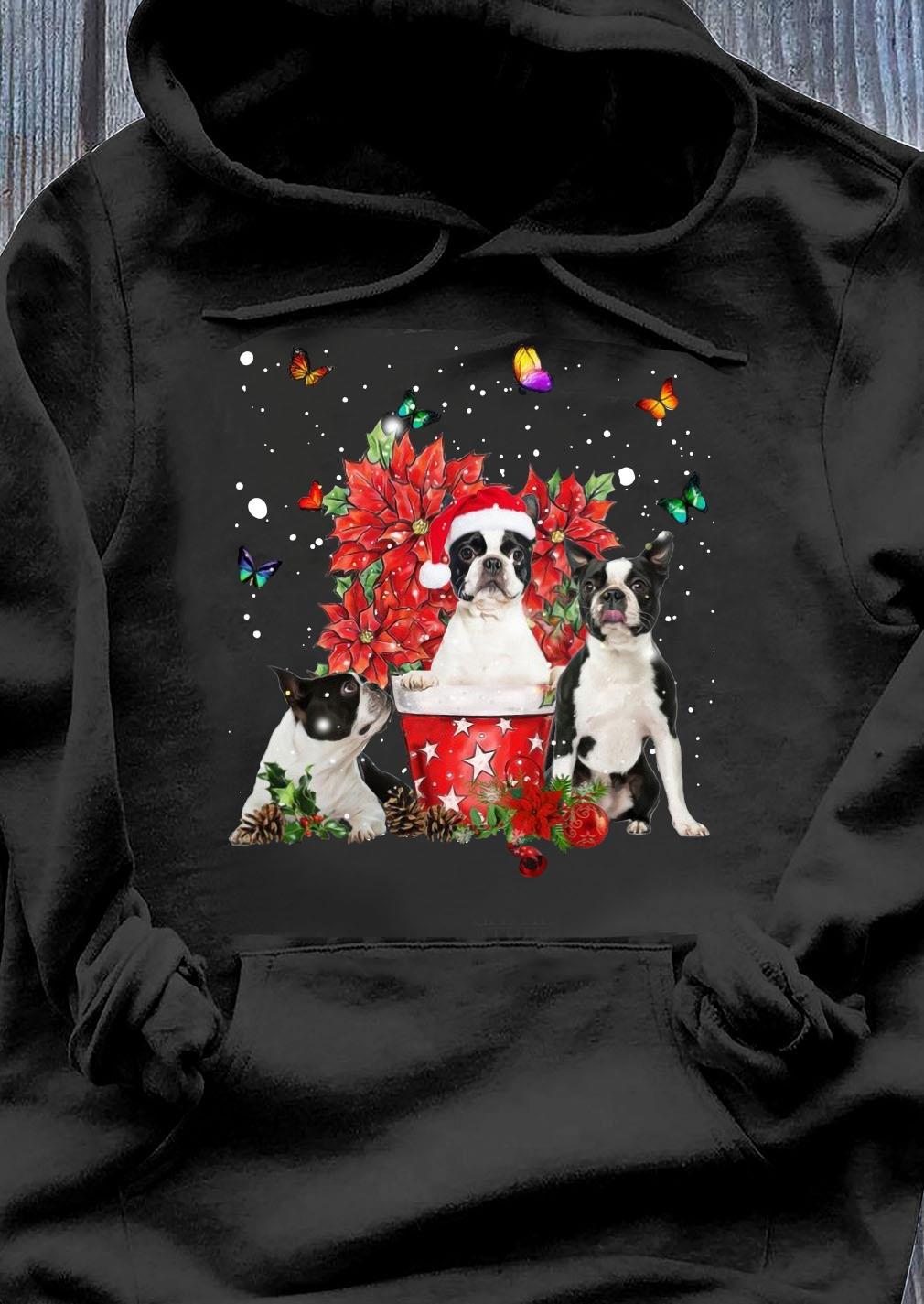Cute Boston Terrier With Poinsettia Flower Christmas Shirt Hoodie