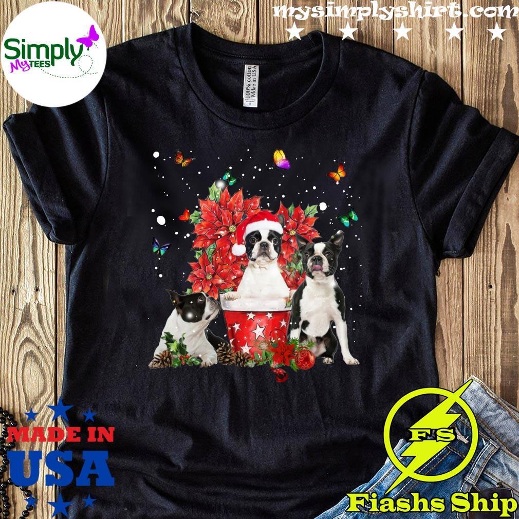 Cute Boston Terrier With Poinsettia Flower Christmas Shirt