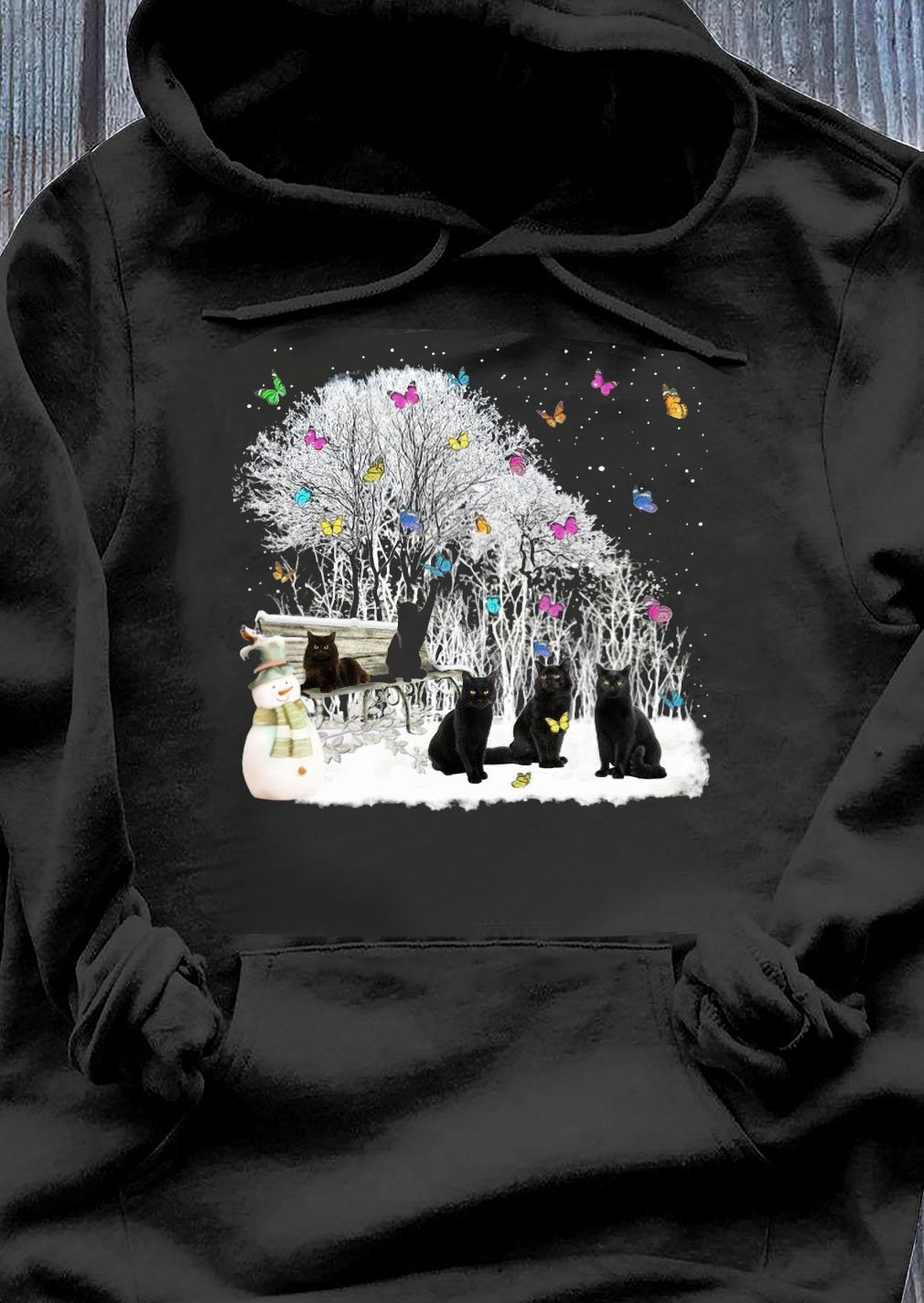 Cute Cat Playing In The Snow-Gift For Cat Lover Christmas Shirt Hoodie