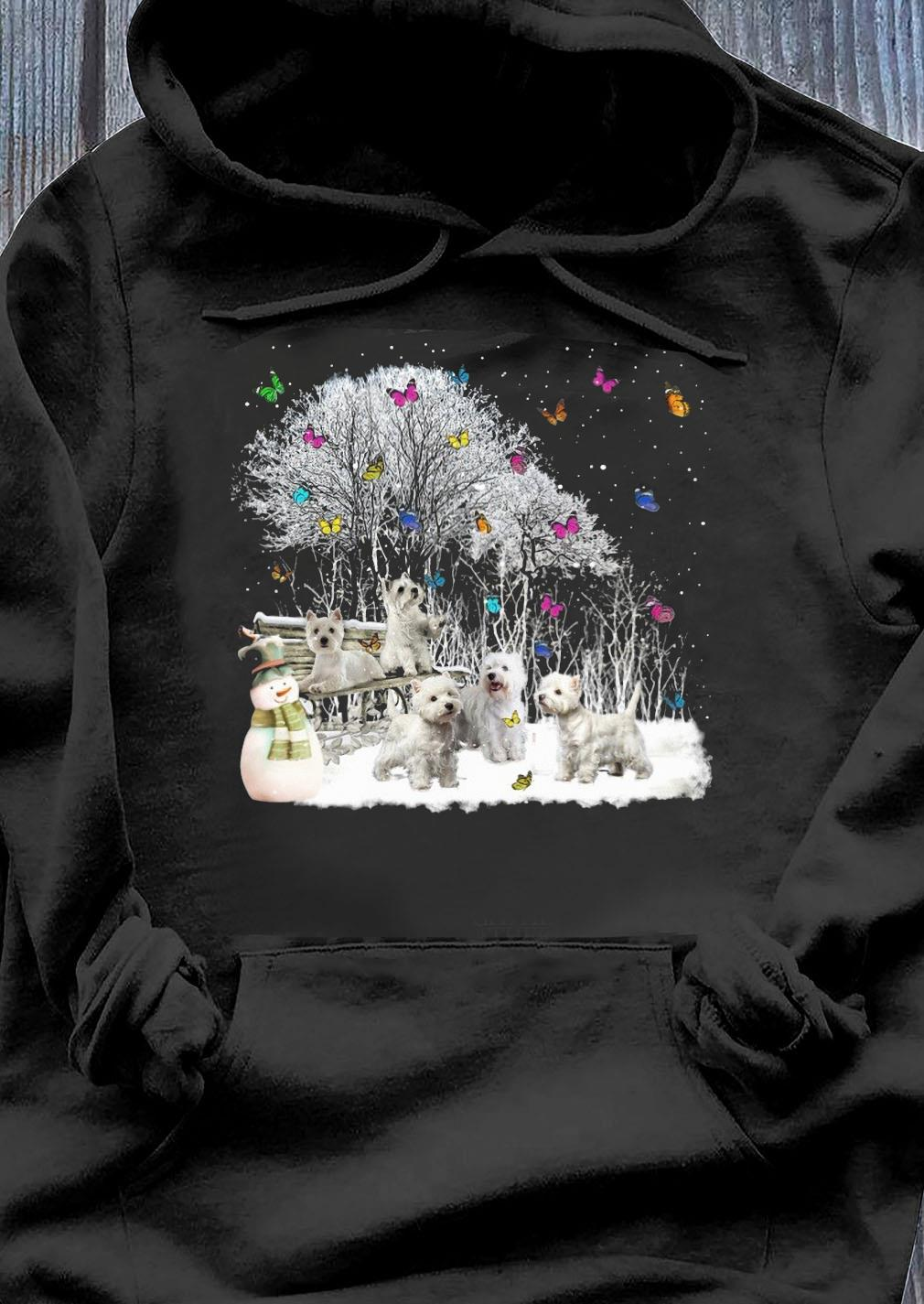Cute Westie Playing In The Snow Christmas Shirt Hoodie
