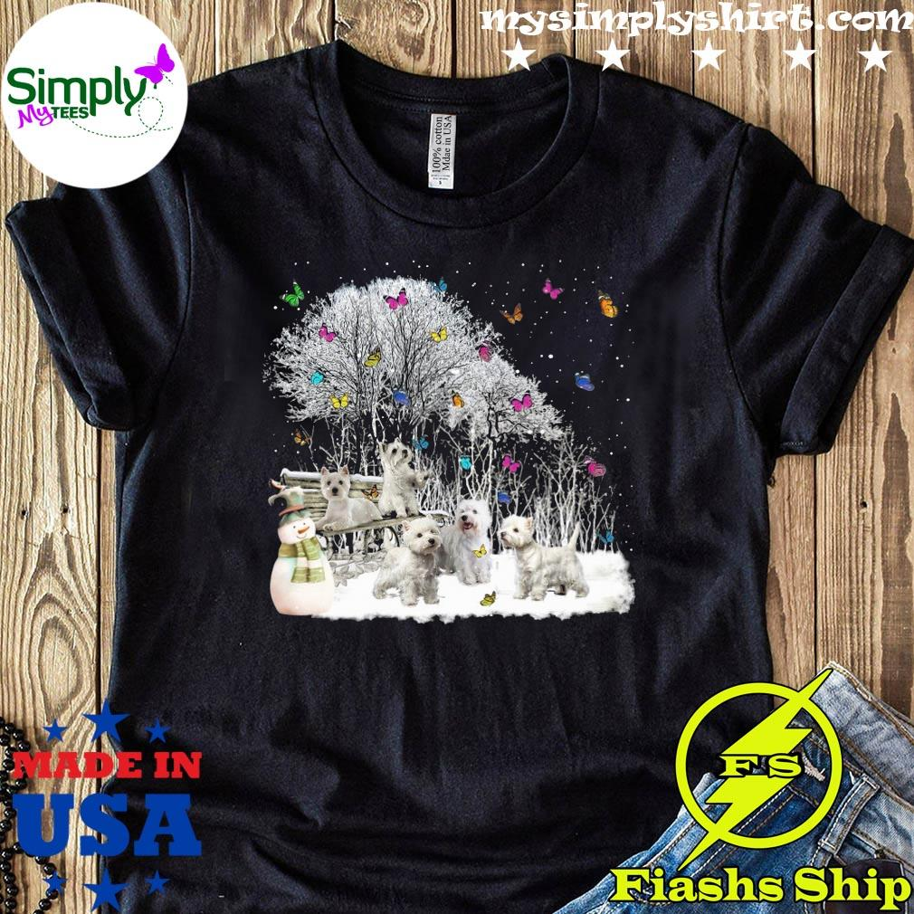 Cute Westie Playing In The Snow Christmas Shirt