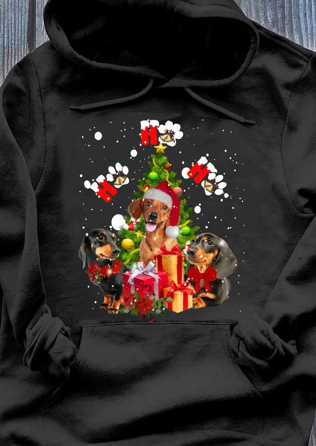 Dachshund Ho Ho Ho Christmas Tree Shirt Hoodie