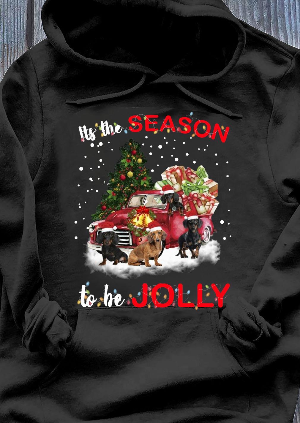 Dachshund It's The Season To Be Jolly Christmas Tree Shirt Hoodie