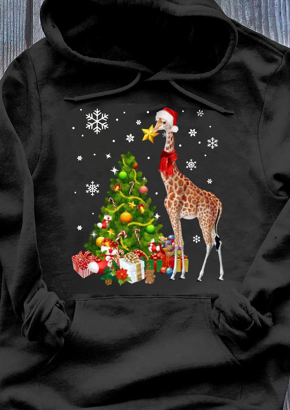 Giraffe Ornament Decoration Christmas Tree Crewneck Sweats Hoodie