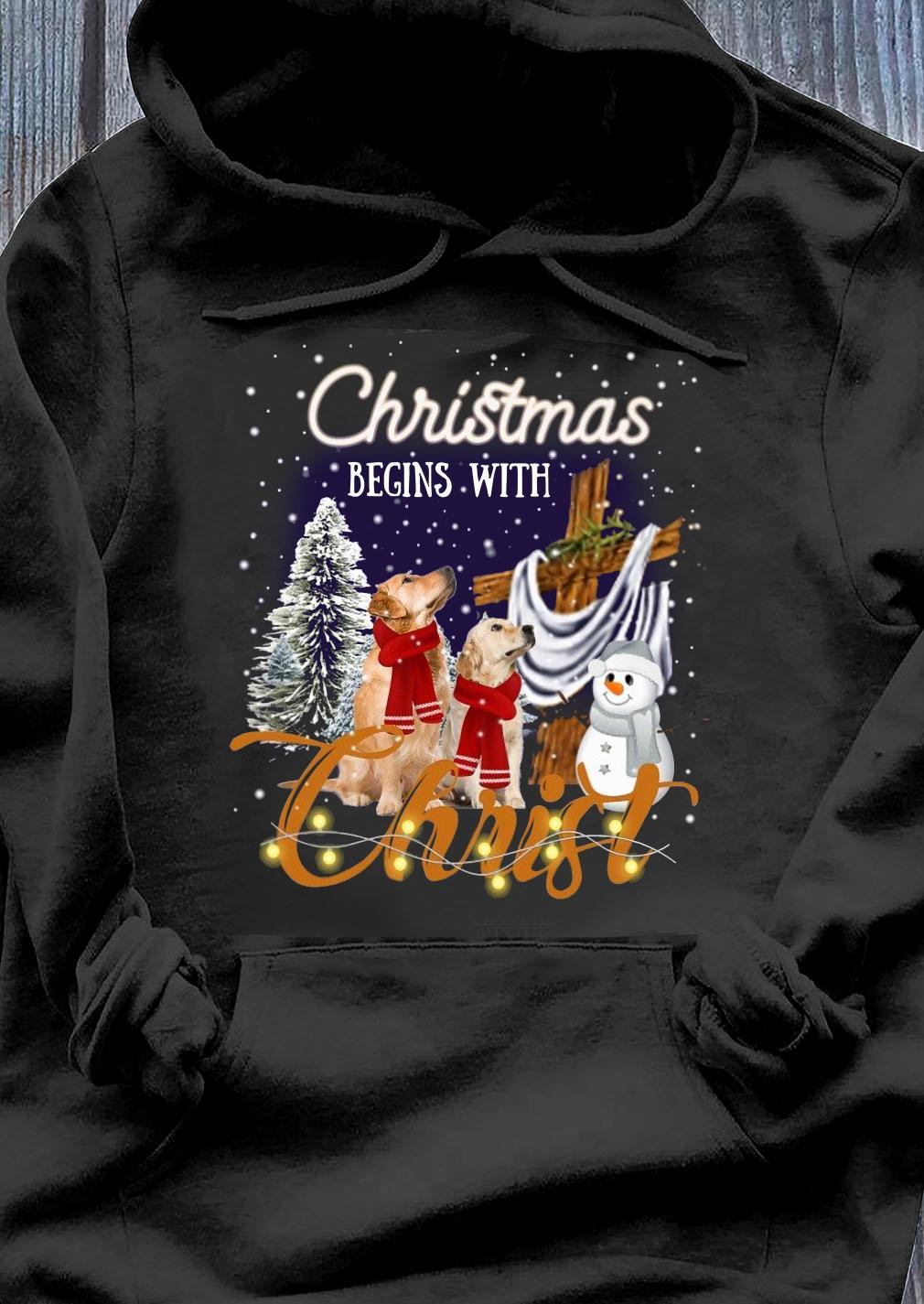 Golden Retriever Christmas Begins With Christ Crewneck Sweats Hoodie