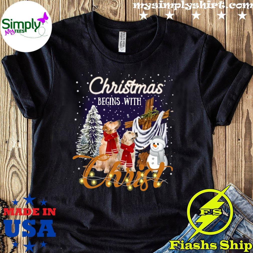 Golden Retriever Christmas Begins With Christ Crewneck Sweatshirt