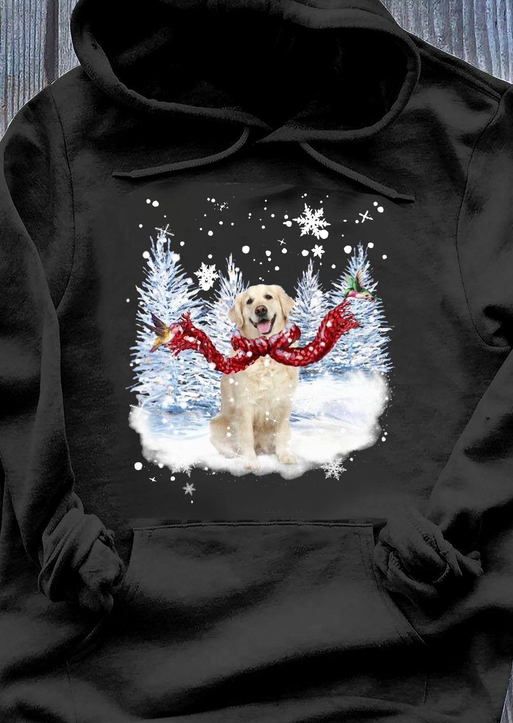 Golden Retriever Warm Red Scarf For Golden Lover Christmas Shirt Hoodie