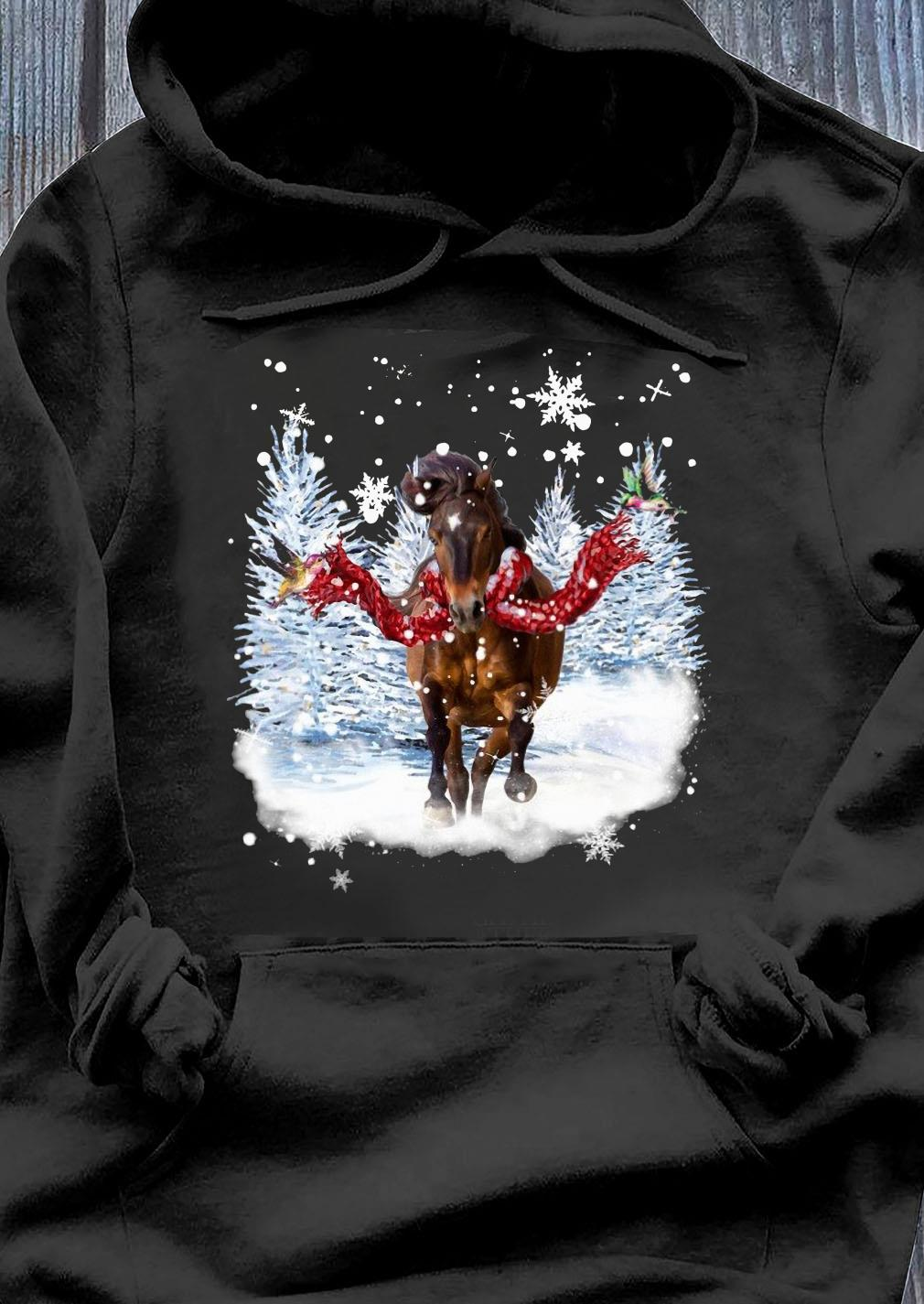 Horse Warm Red Scarf For Horse Lover Christmas Shirt Hoodie