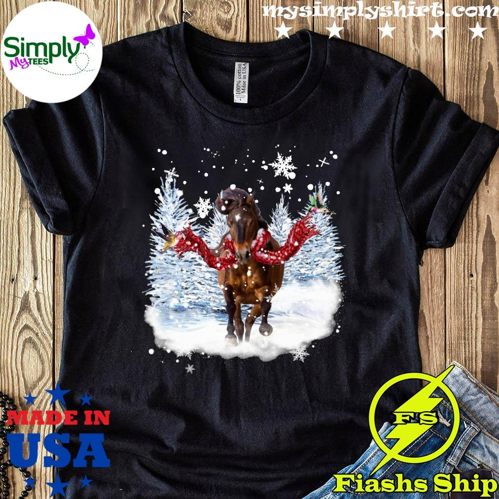 Horse Warm Red Scarf For Horse Lover Christmas Shirt