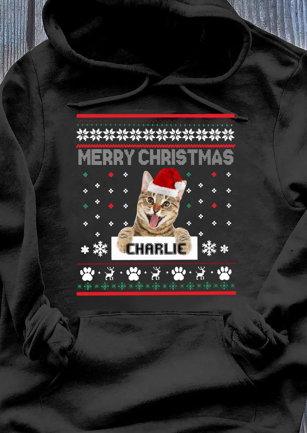 Merry Christmas Santa Cat Charlie Ugly Shirt Hoodie