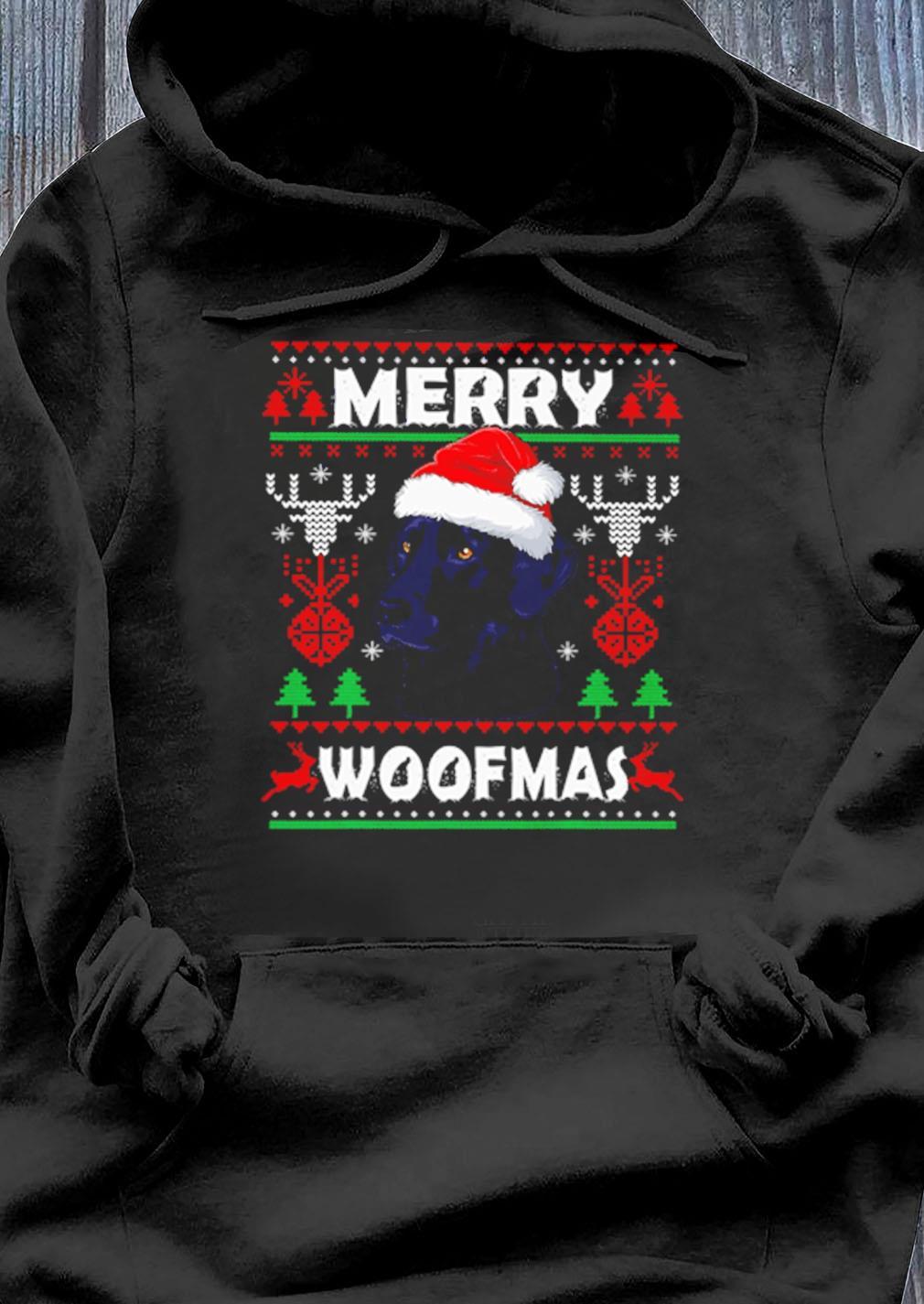 Merry Woofmas Black Labrador Ugly Christmas Sweater Hoodie