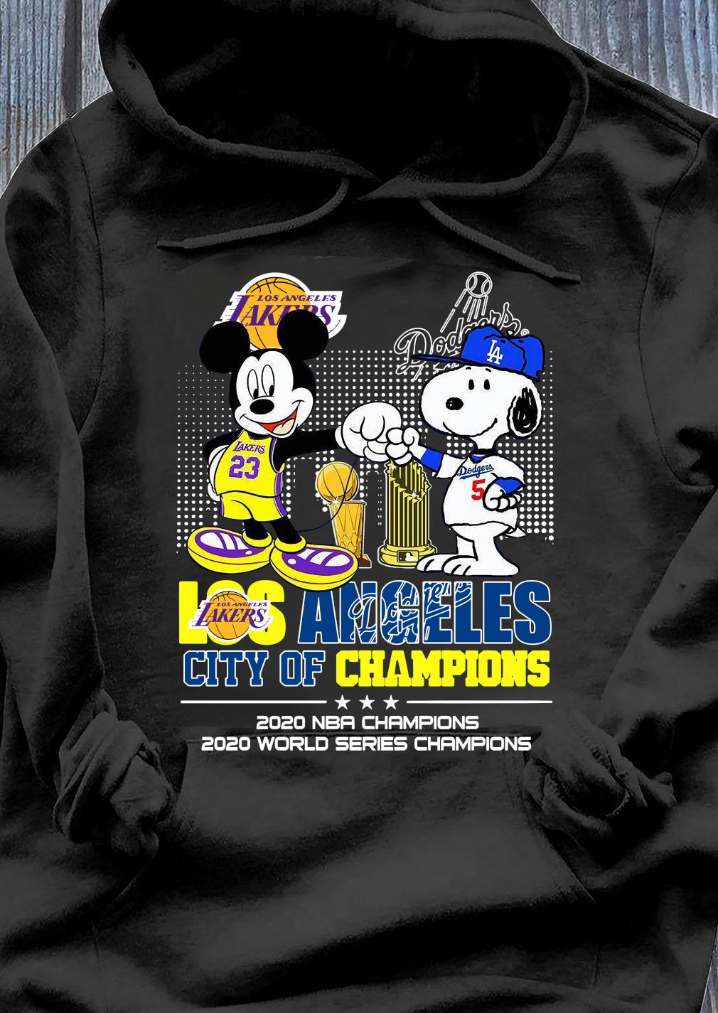 Mickey Mouse Los Angeles Lakers And Snoopy Los Angeles Dodgers City Of Champions 2020 Nba Champions Shirt Hoodie