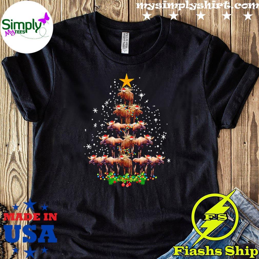 Moose Christmas Tree Lights Sweater