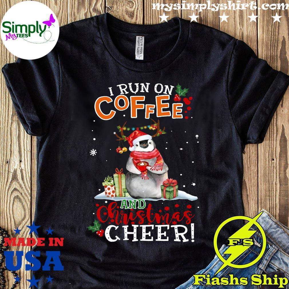 Penguin Run On Coffee And Christmas Cheer Crewneck Sweatshirt