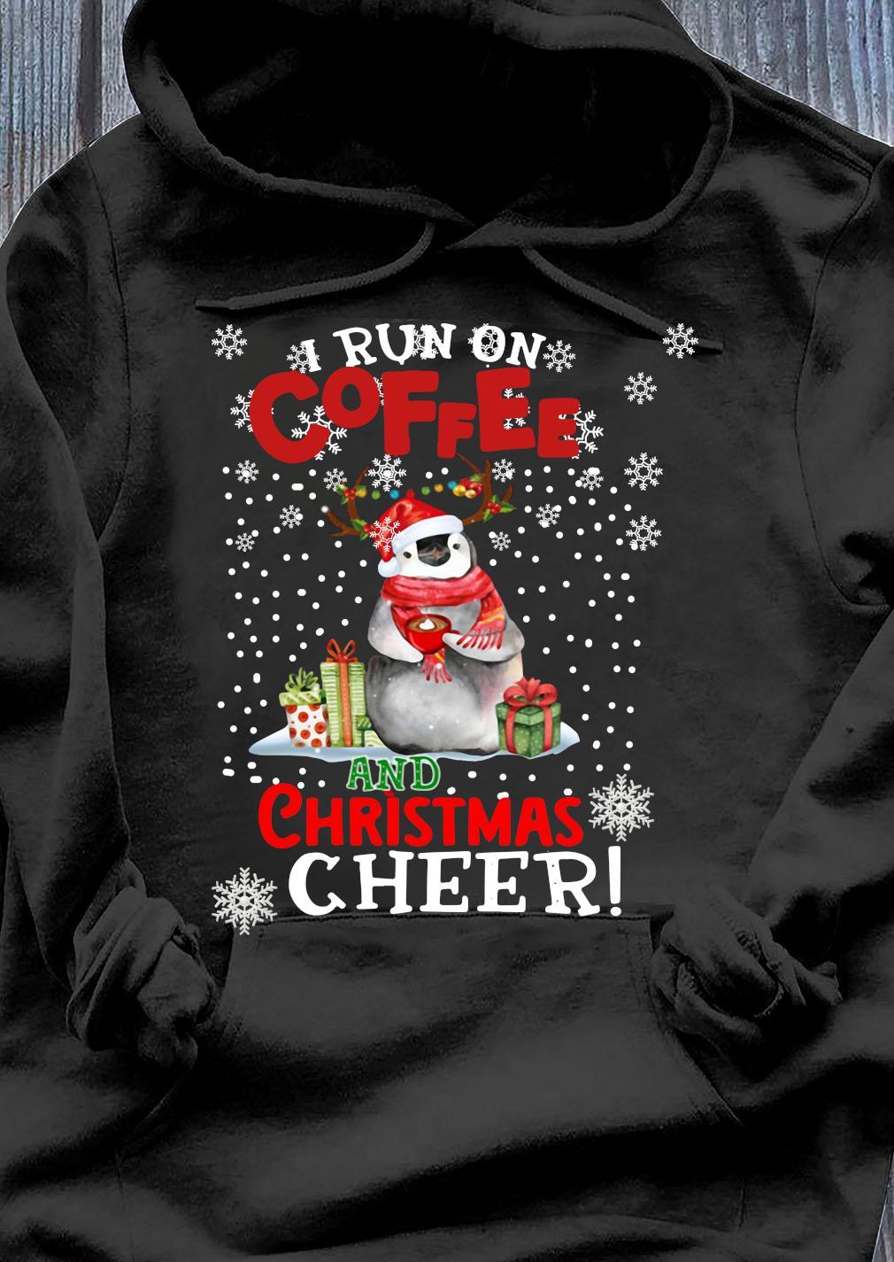 Penguins I Run On Coffee Christmas Cheer Sweats Hoodie