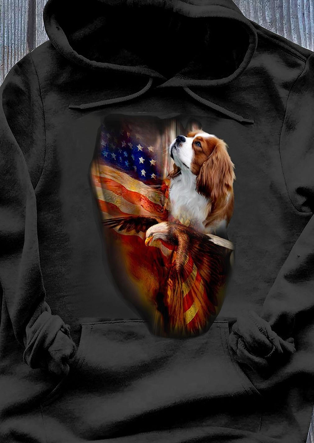 Premium Eagle Cavalier King Charles Spaniel American Wings Happy 4th Of July Shirt Hoodie