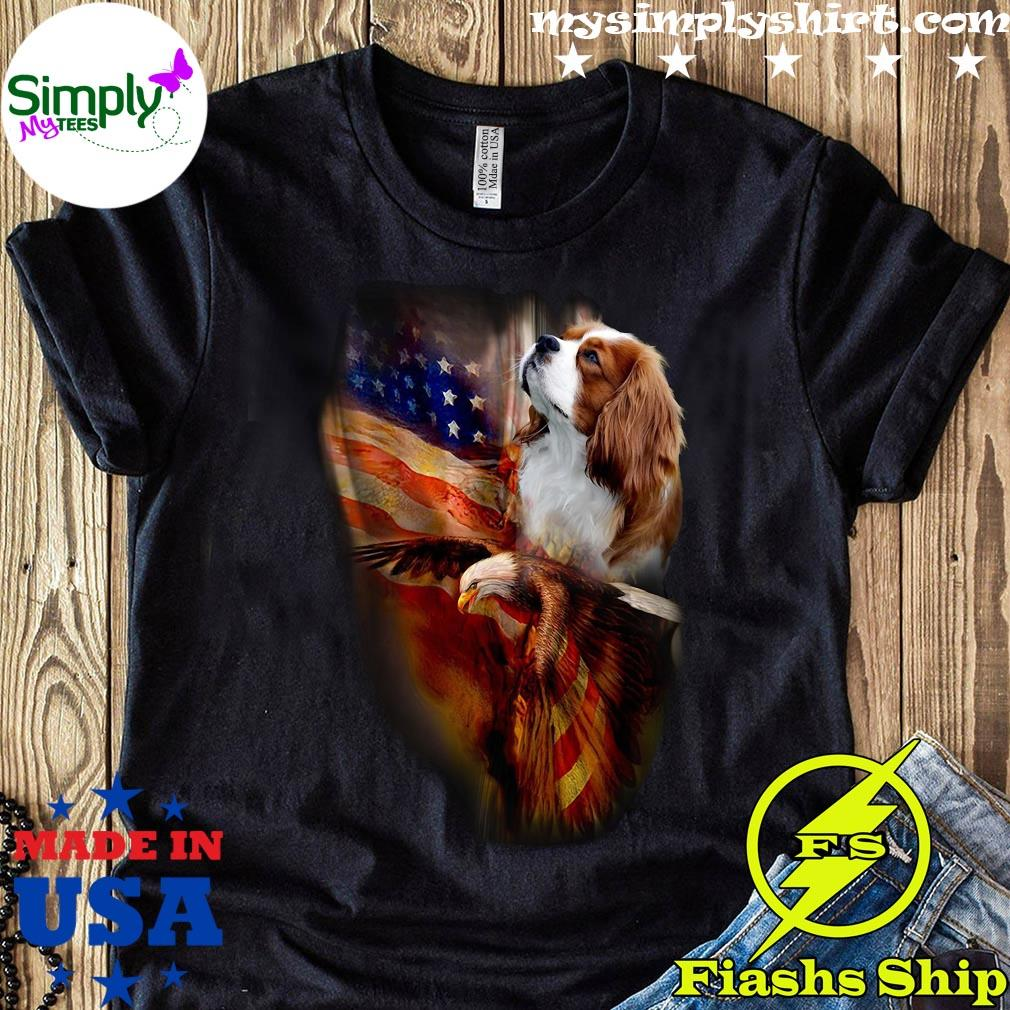 Premium Eagle Cavalier King Charles Spaniel American Wings Happy 4th Of July Shirt