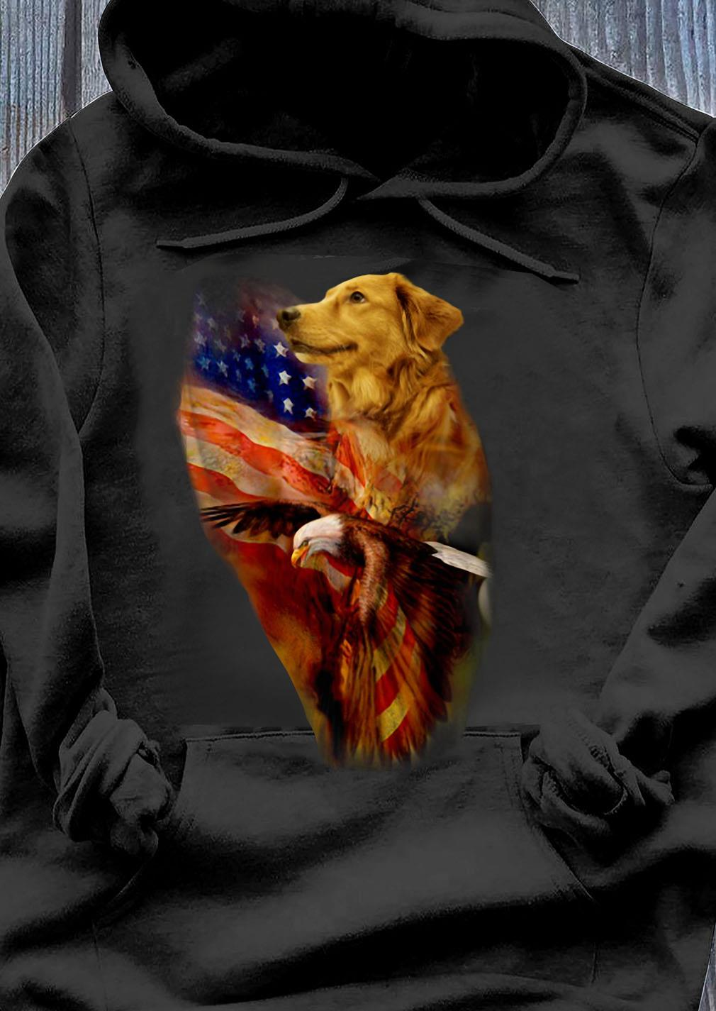 Premium Eagle Cgolden Retriever American Wings Happy 4th Of July Shirt Hoodie