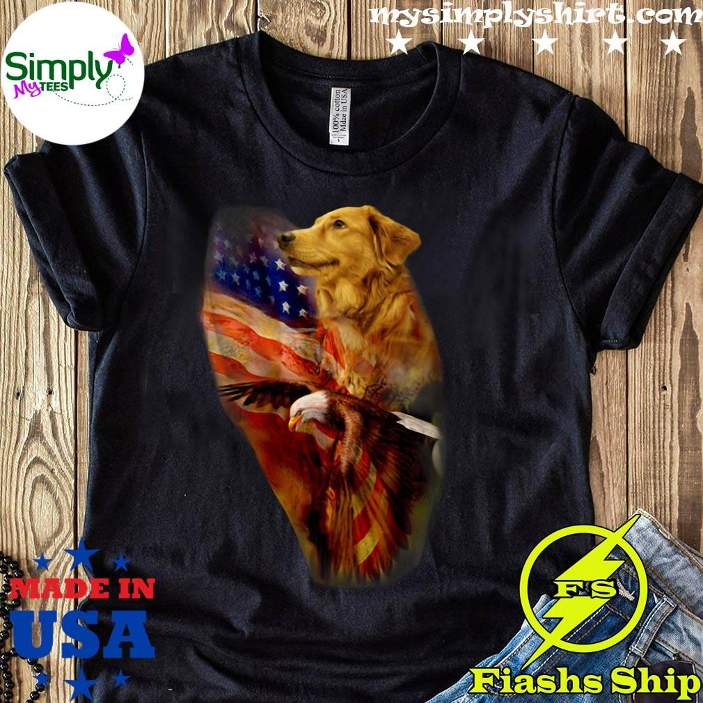 Premium Eagle Cgolden Retriever American Wings Happy 4th Of July Shirt
