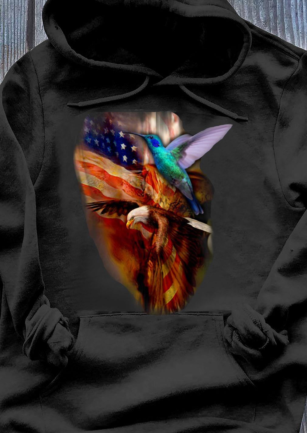 Premium Eagle Hummingbird American Wings Happy 4th Of July Shirt Hoodie