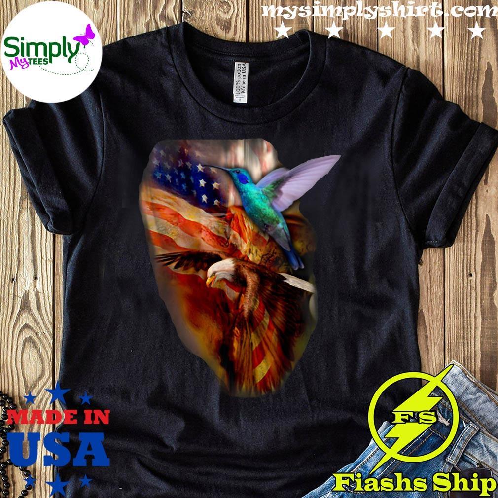 Premium Eagle Hummingbird American Wings Happy 4th Of July Shirt