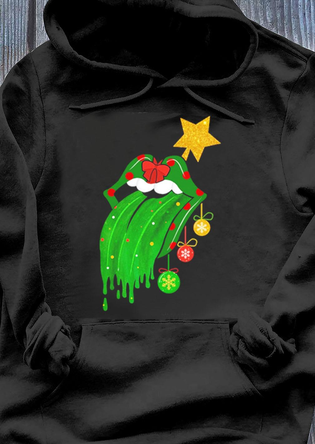 Rolling Stones Tongue Green Christmas Sweater Hoodie