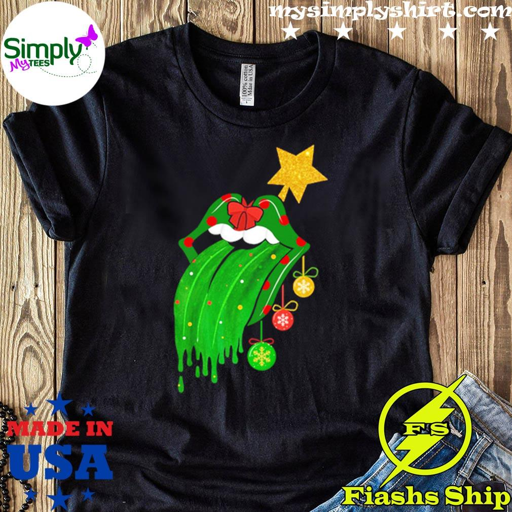 Rolling Stones Tongue Green Christmas Sweater
