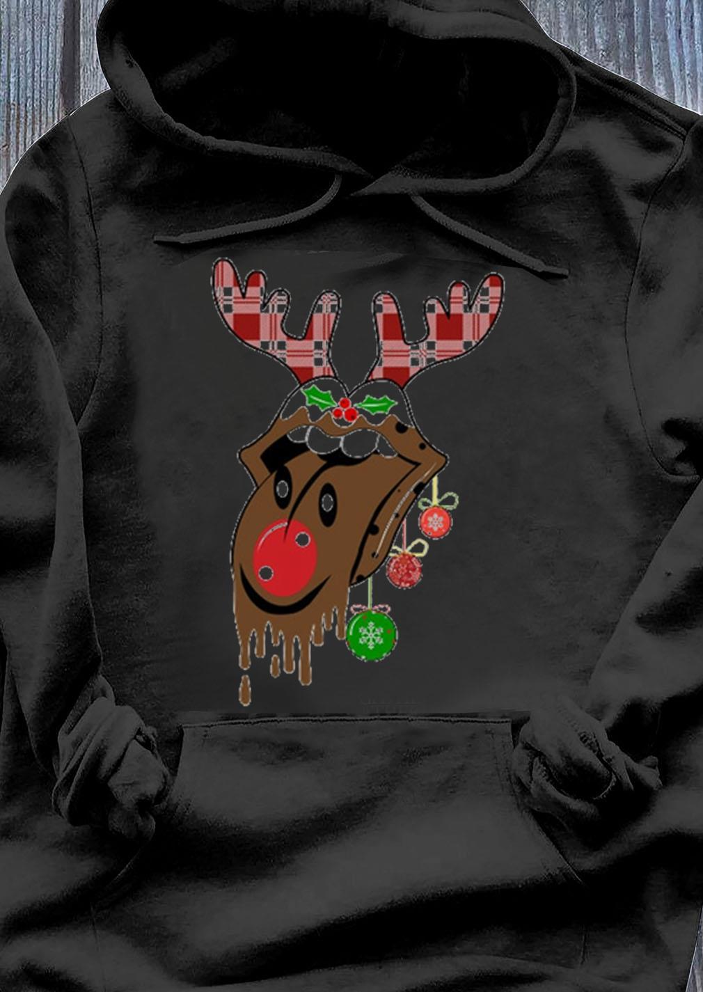 Rolling Stones Tongue Reindeer Christmas Sweater Hoodie
