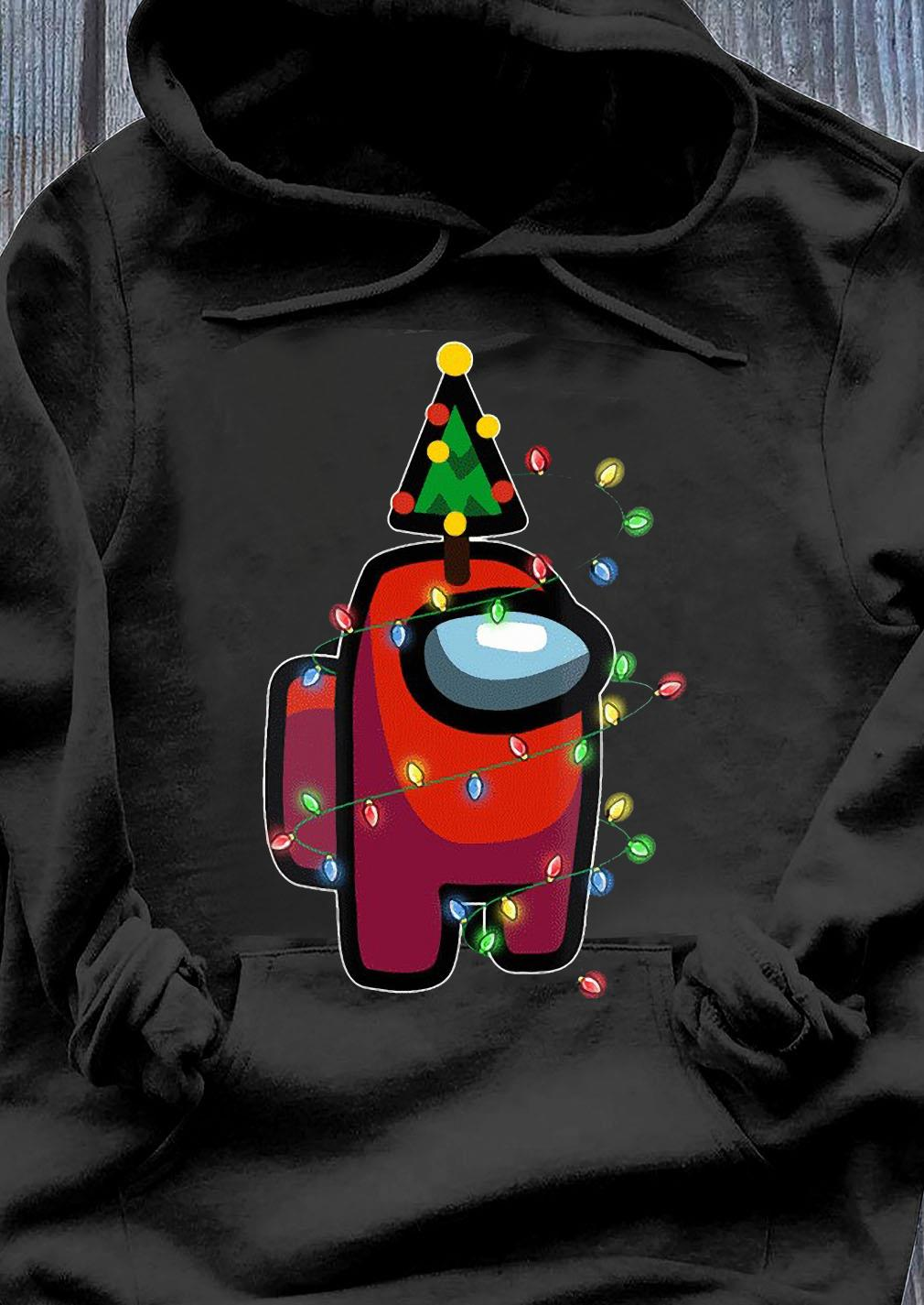 Santa Among Us Character Pine Christmas Tree Shirt Hoodie