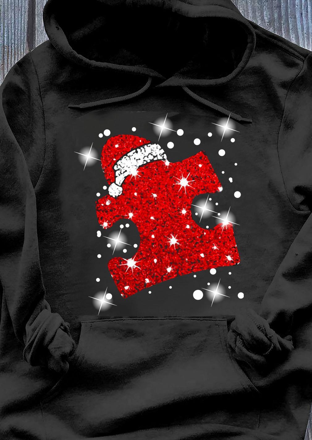 Santa Autism Diamond Merry Christmas Shirt Hoodie