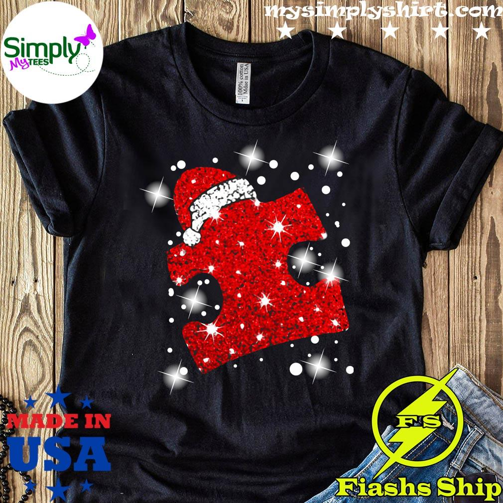 Santa Autism Diamond Merry Christmas Shirt